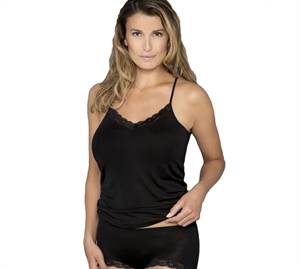 Lady Avenue Silke Camisole m/ Blonde Sort