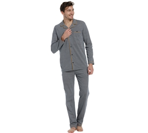 Pastunette Men Pyjamas m/ knapper Navy & Gul Piping