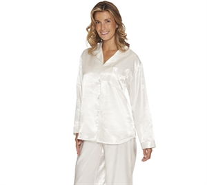 Lady Avenue Satin Pyjamas OffWhite