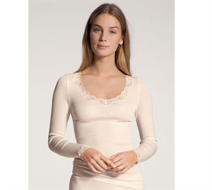 Calida Richesse Lace Uld Silke T-shirt LS Light Ivory