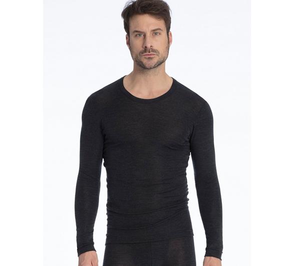 Calida Herre Uld & Silke T Shirt LS Dark Moon Mele