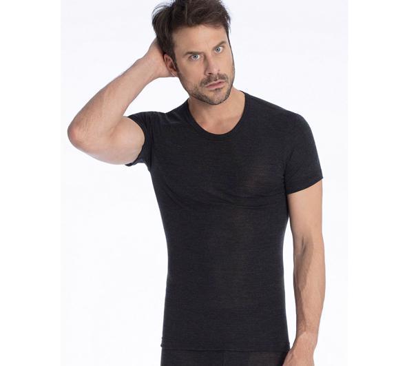 4601e961 Uld & Silke herre T-shirt Grå - Undertrøje m/ kort ærme