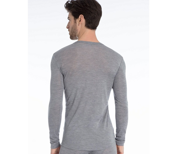 Calida Herre Uld & Silke T shirt LS Platin Mele